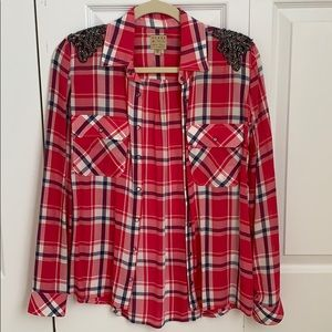 GUESS pink flannel top size XS